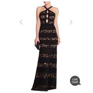 BCBG Katrina Halter Neck Cutout Gown